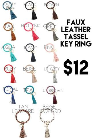 Faux Leather Tassel Keychain Ring