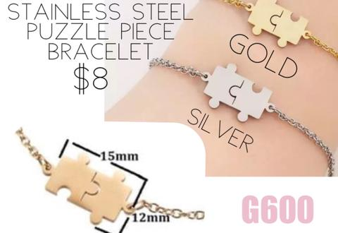 Stainless Steel Puzzle Piece Bracelet (G600)